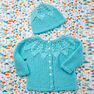 Red Heart Star Bright Baby Cardigan and Hat, 3 mos in color