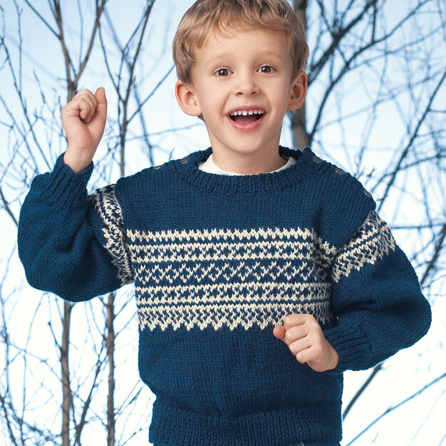 Patons Pullover with Norwegian Pattern, 4 yrs in color