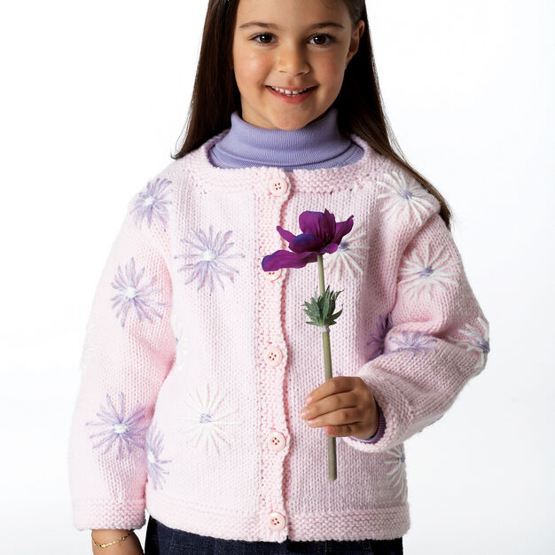 Bernat Cardigan with Lazy Daisies, 2 yrs