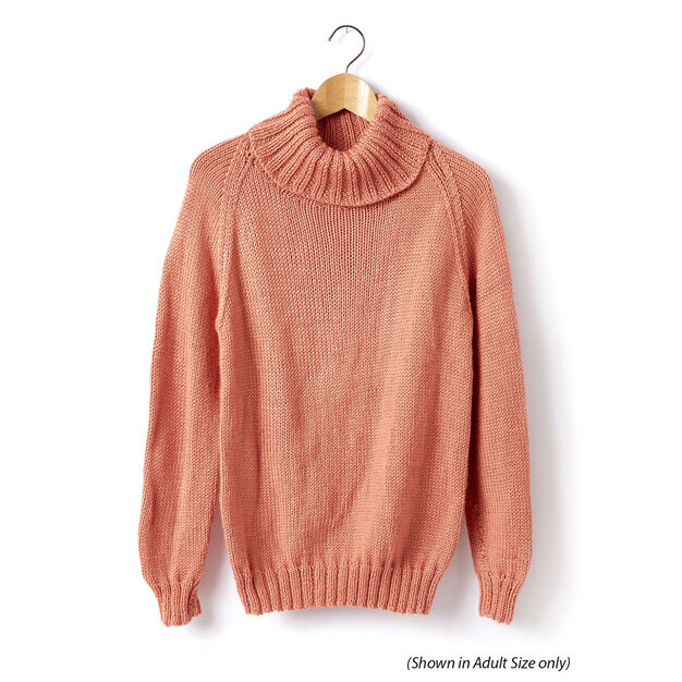 Caron Child's Knit Turtle Neck Pullover, Size 2