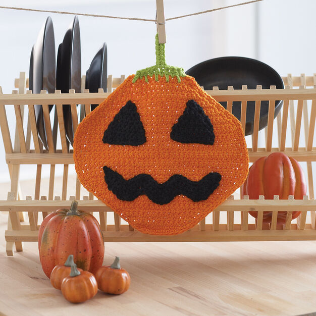 Lily Sugar'n Cream Jack'o Lantern Dishcloth