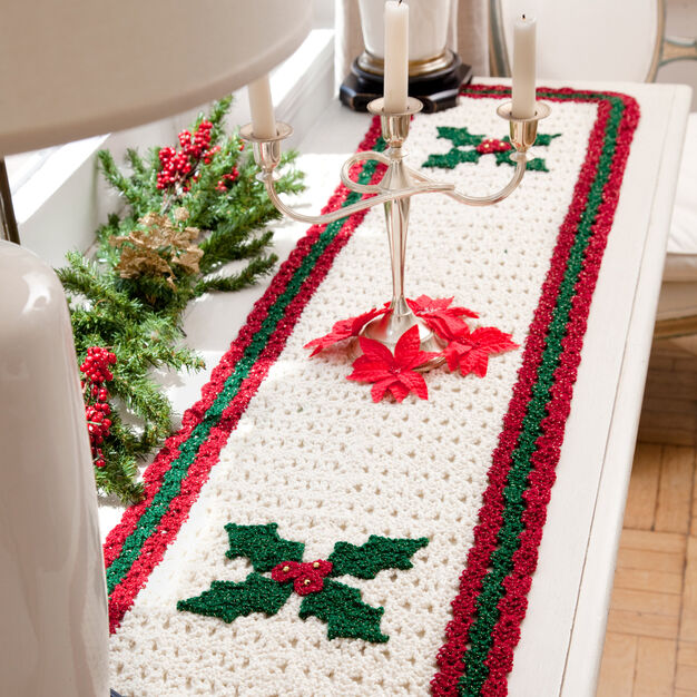 Red Heart Holly Table Runner in color