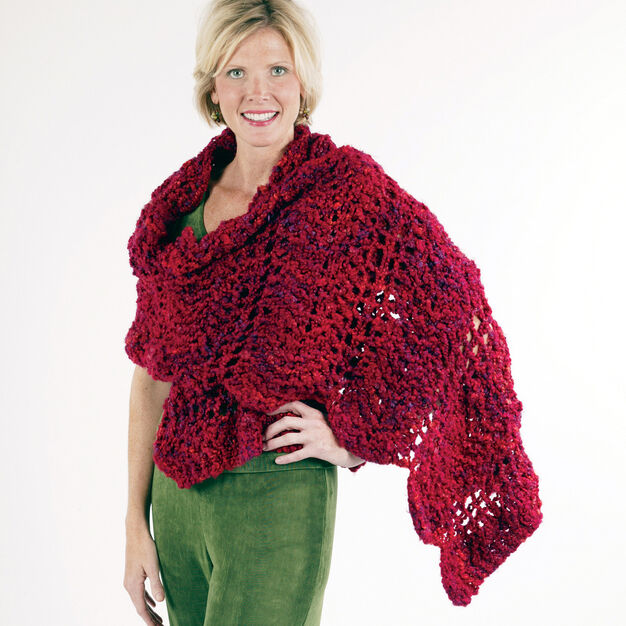 Red Heart Wavy Shawl in color