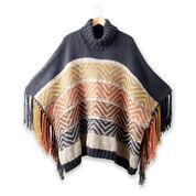 Patons Reverse Fair Isle Knit Poncho, XS/S/M/L