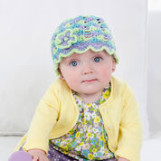 Red Heart Ruffled Posies Hat, S