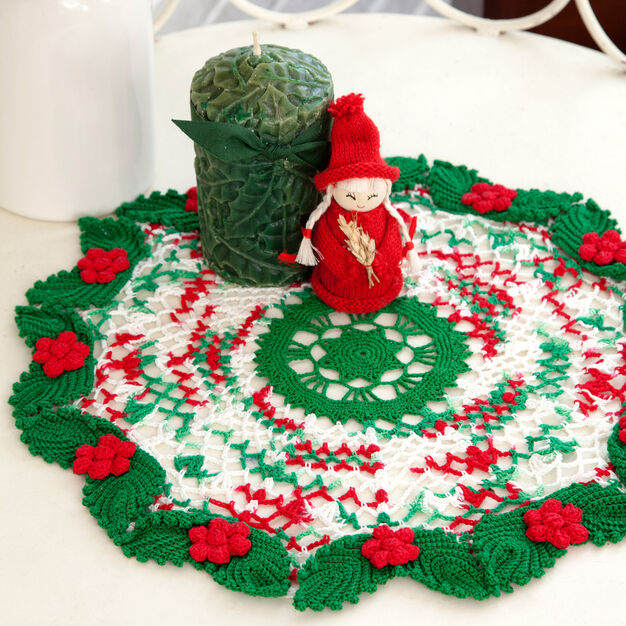 Aunt Lydia's Holly & Lace Doily in color