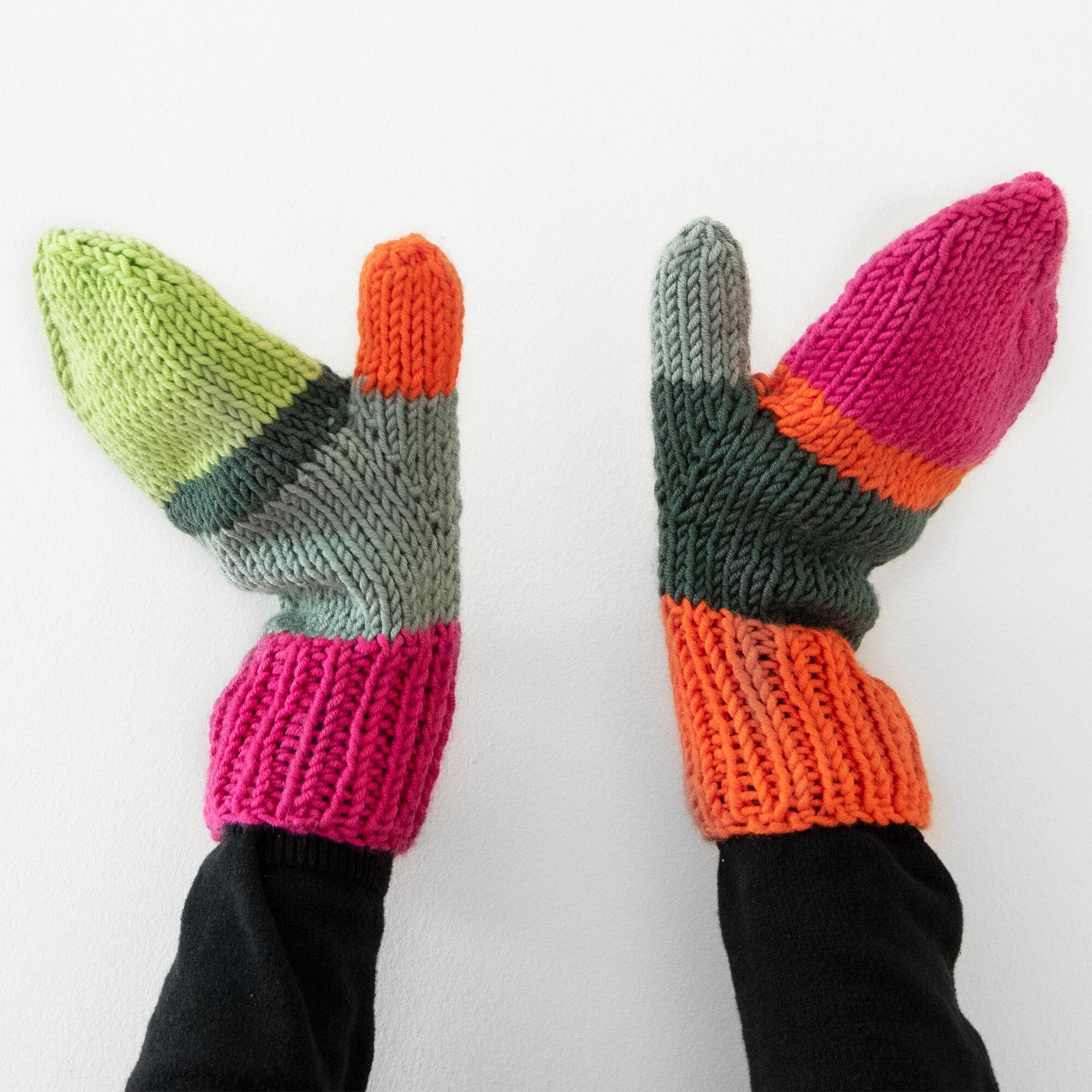 Caron x Pantone Find a Match Knit Mittens Pattern | Yarnspirations