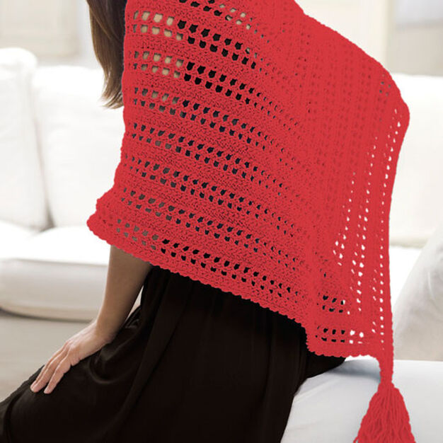 Red Heart True Friend Shawl in color