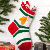 Red Heart Holiday Stocking with Mitten Pocket