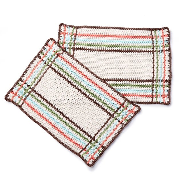 Lily Sugarn Cream Mad For Plaid Crochet Placemat Yarnspirations