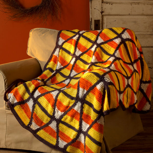 Red Heart Candy Corn Throw in color