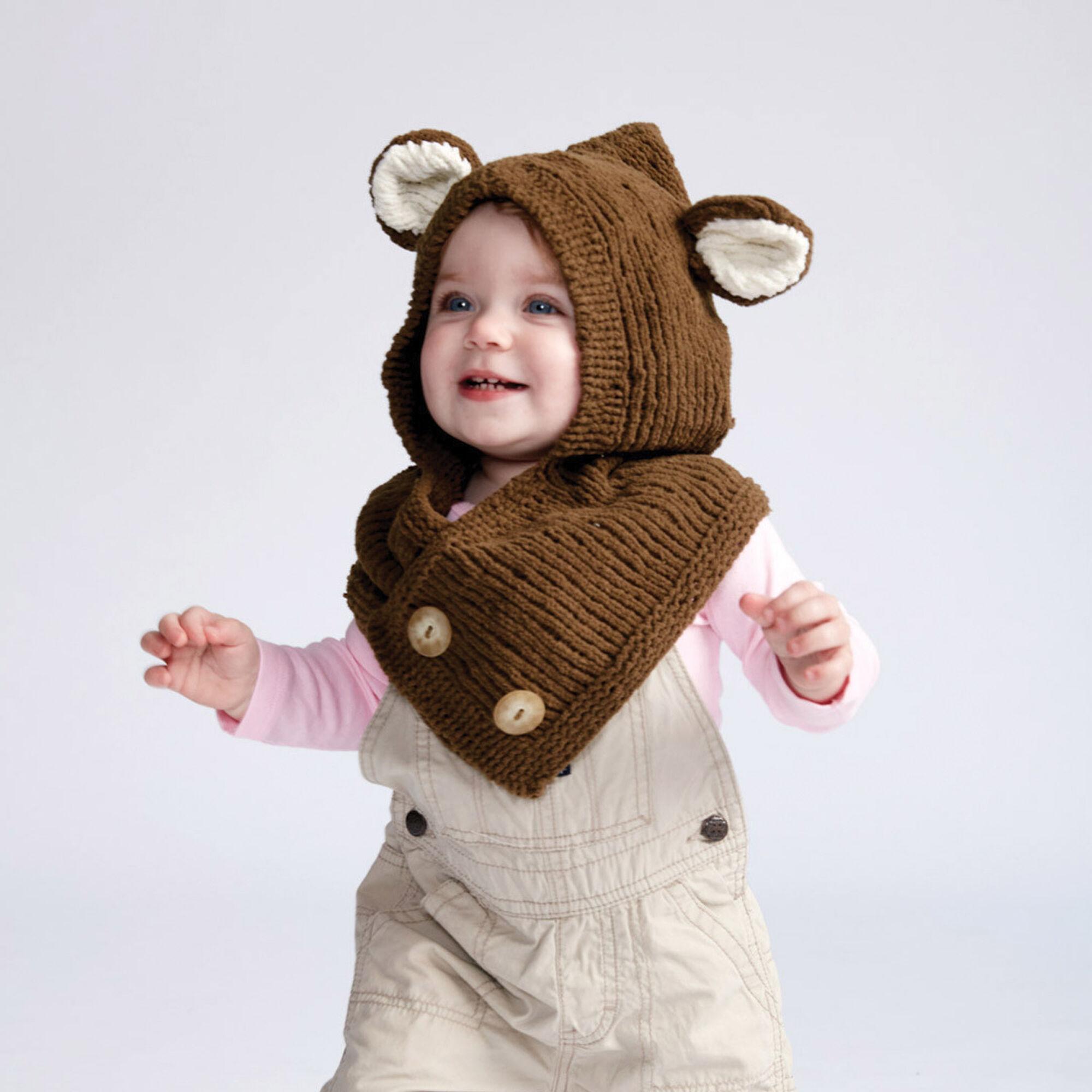Bernat Hooded Knit Bear Cowl 6 12 Mos Yarnspirations