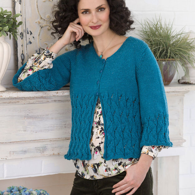 Red Heart Lacy Cardi, S in color