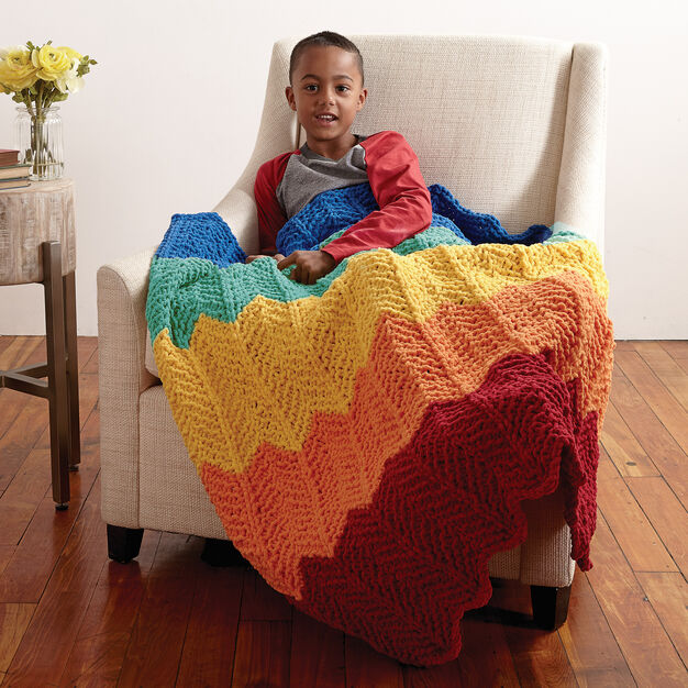 Bernat Rainbow Ripple Blanket