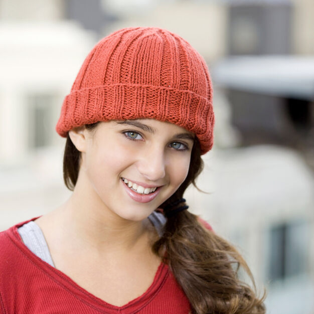 Red Heart Knit Toboggan Hat, S in color
