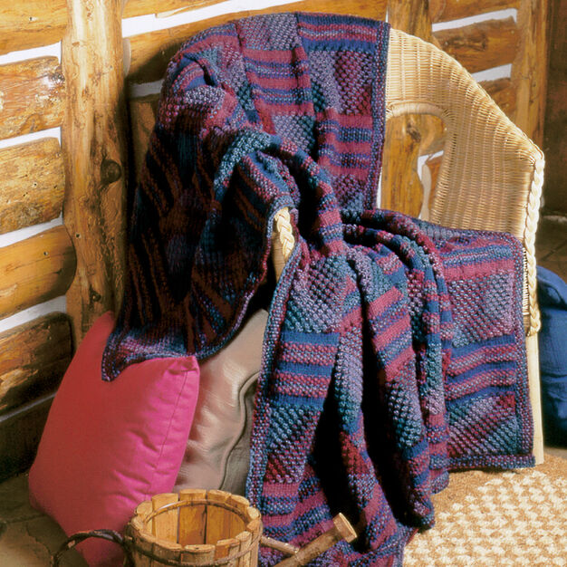 Patons Textured Panels Afghan in color
