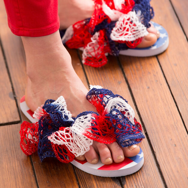 Red Heart Freedom Flip Flops in color