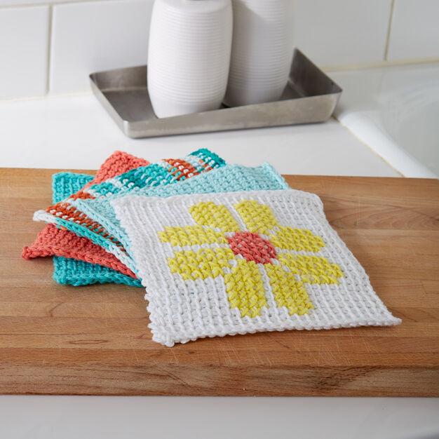 Lily Sugarn Cream Tunisian Simple Stitch Dishcloth White