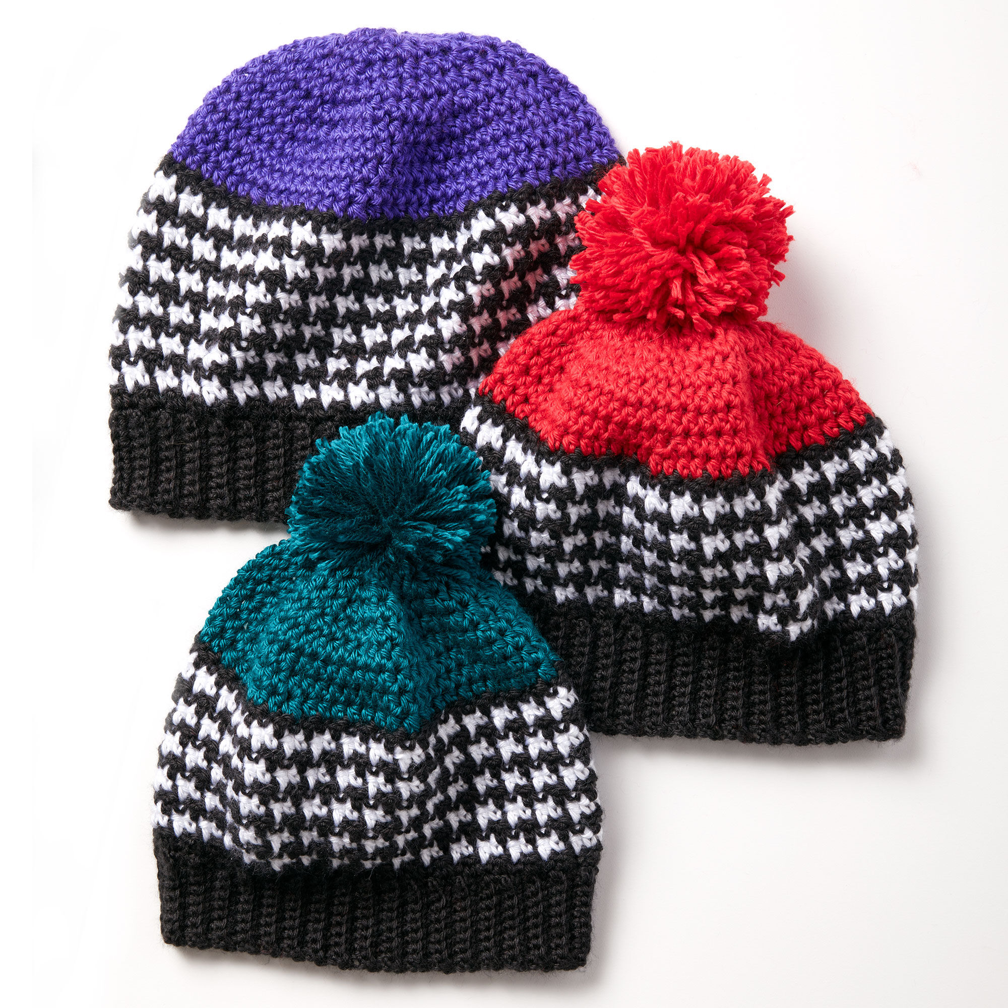 Caron Houndstooth Bright Hat, Red | Yarnspirations