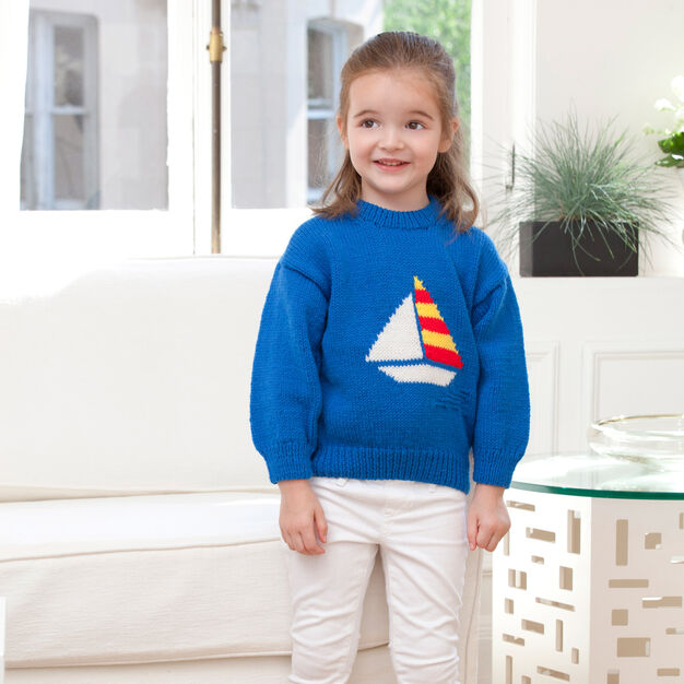 Red Heart Summer Sailor Sweater, 2 yrs in color