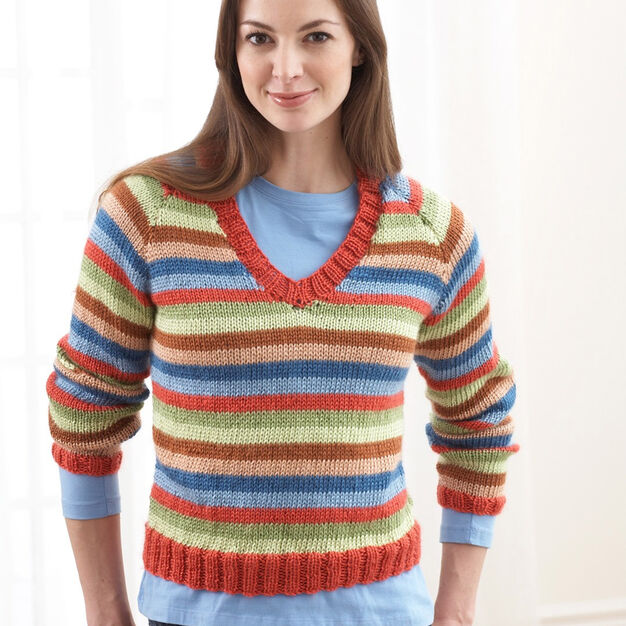 Bernat Sweater With Stripes (To Knit) , XS/S
