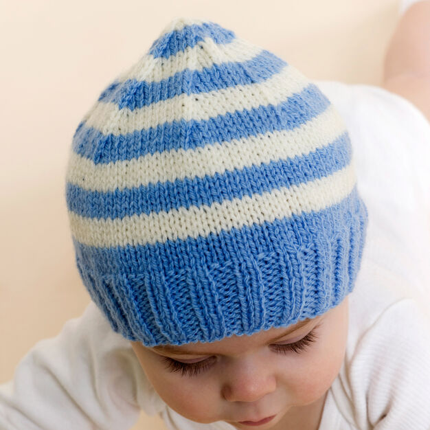 Red Heart Stripe Knit Baby Hat in color