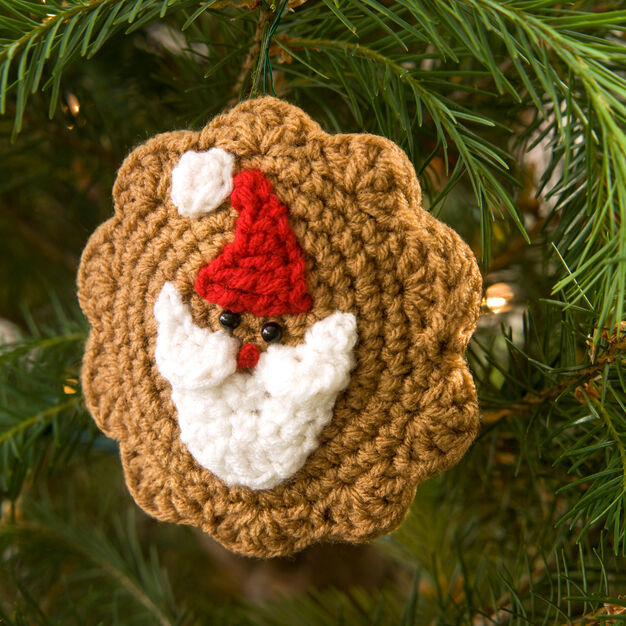 Red Heart Santa Cookie Ornament in color