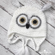 Caron Snowy Owl Crochet Hat, 0-3 mos
