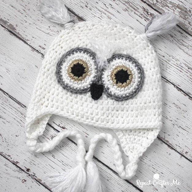 Caron Snowy Owl Crochet Hat 0 3 Mos Yarnspirations