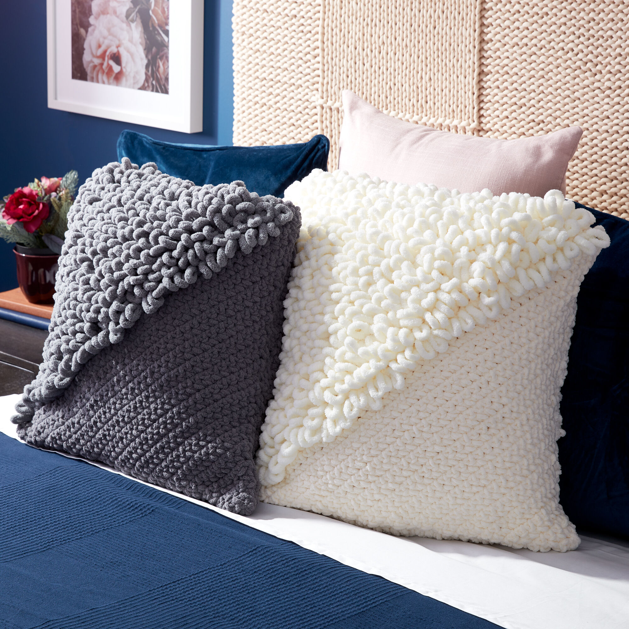 Bernat Alize Loopy Corner Crochet Pattern Pillow