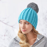 Red Heart Easy-Fit Ribbed Pompom Hat, S