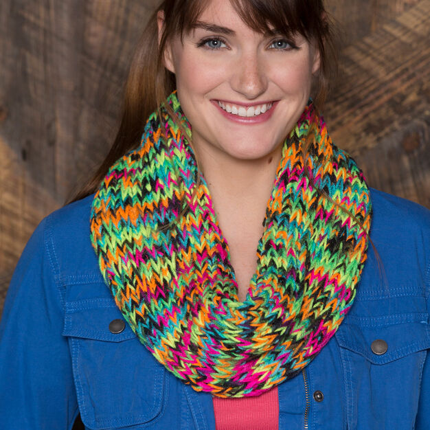 Red Heart Chunky Colorful Cowl in color