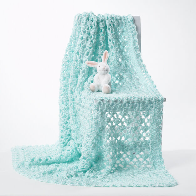 Bernat Crochet Baby Blanket, White in color