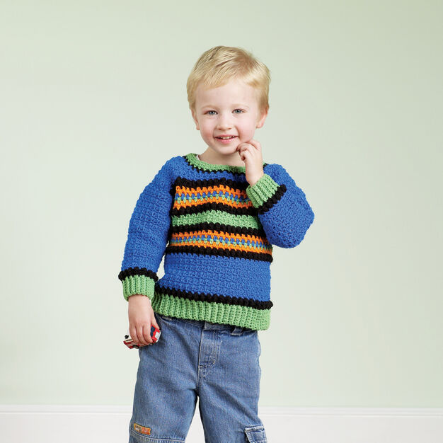 Red Heart Crochet Kid's Striped Pullover, 2 yrs in color