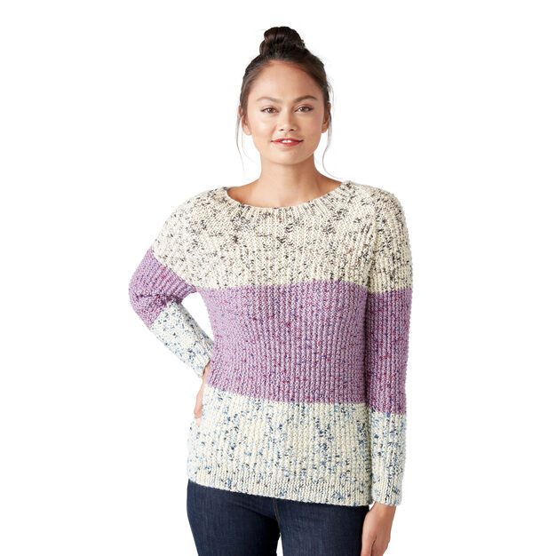 Caron 3 Color Knit Sweater, XS/S in color