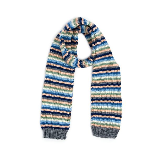 Caron Stripey Knit Scarf in color