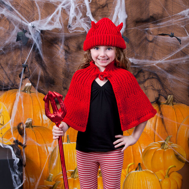 Red Heart Little Devil Hat & Cape in color