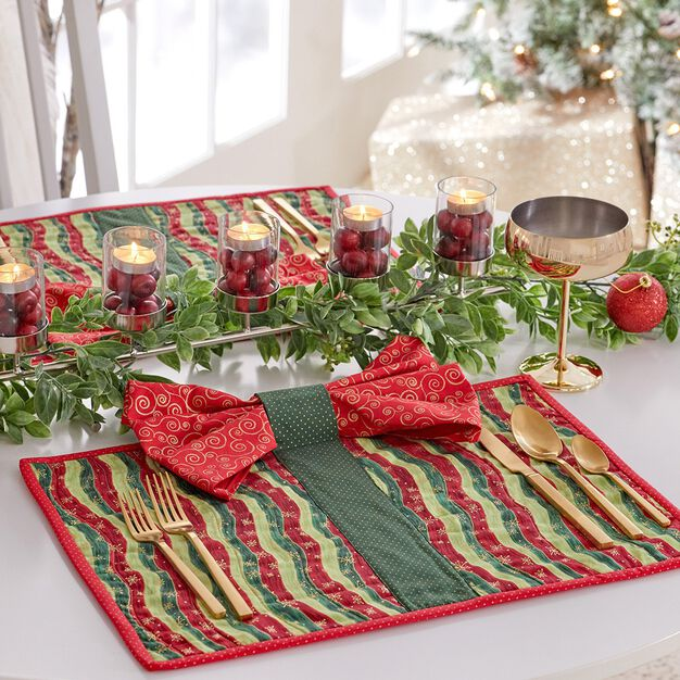 Coats & Clark Bow tie Quilted Placemats Sparkle with Metallic thread in color
