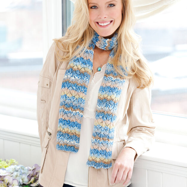 Red Heart Pacific Skies Knit Scarf in color