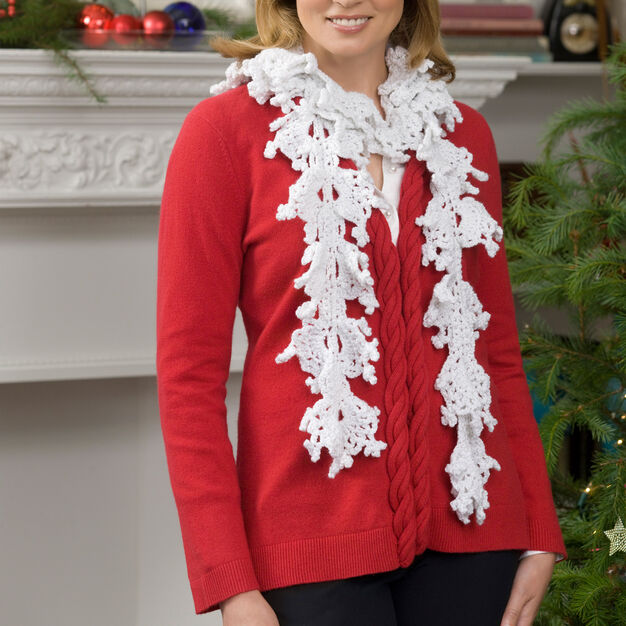 Red Heart Falling Snowflakes Crochet Scarf in color