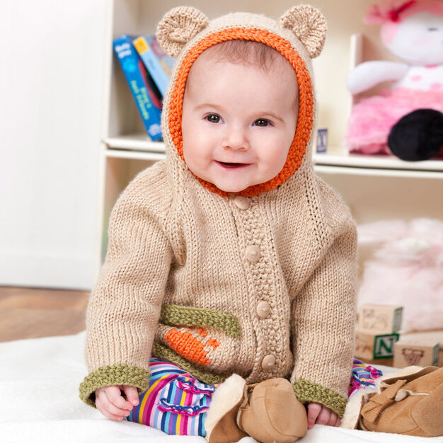 Red Heart Baby Bear Hoodie, 6 mos in color