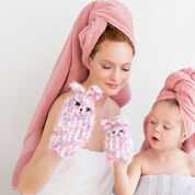 Red Heart Mom & Me Bunny Scrubby Mitts