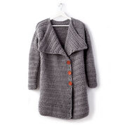 Bernat Big Collar Crochet Coat, XS/S