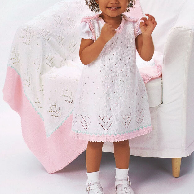Patons Tulip Lace Dress with Blanket, Dress - 6 mos
