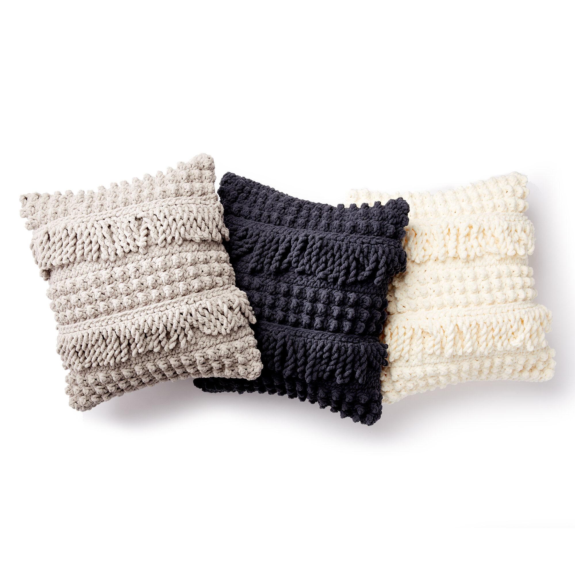 Bernat Bobble and Fringe Crochet Pillow, White | Yarnspirations