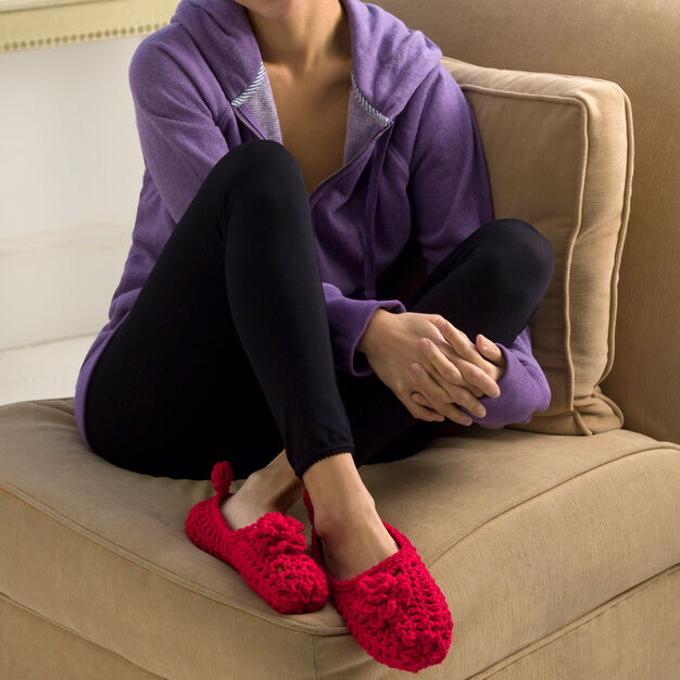 Red Heart Double-Sole Slippers, S in color