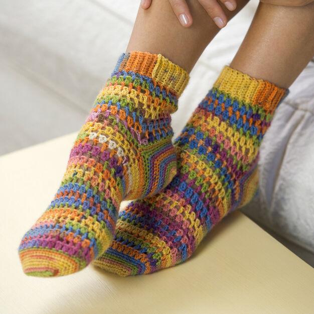 Red Heart Crochet Heart & Sole Socks in color