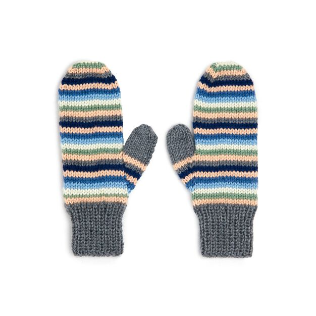 Caron Stripey Knit Mittens in color