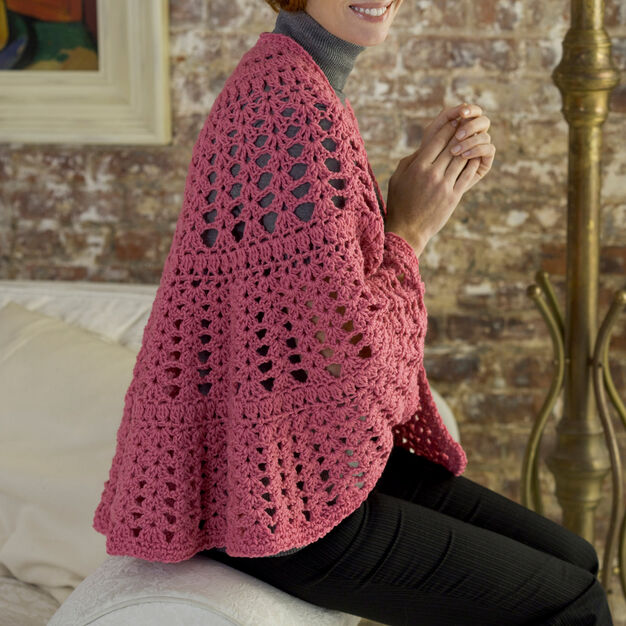 Red Heart Be a Friend Shawl in color