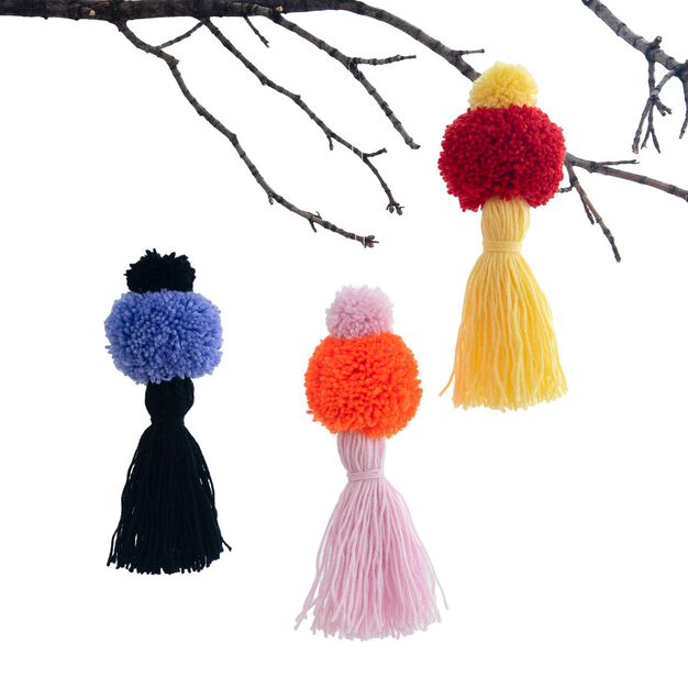 Caron Pom and Tassel Ornaments in color